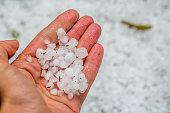Hailstones in human hand.