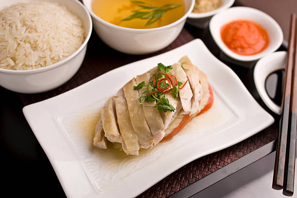hainanese chicken - chicken rice stock photos and pictures