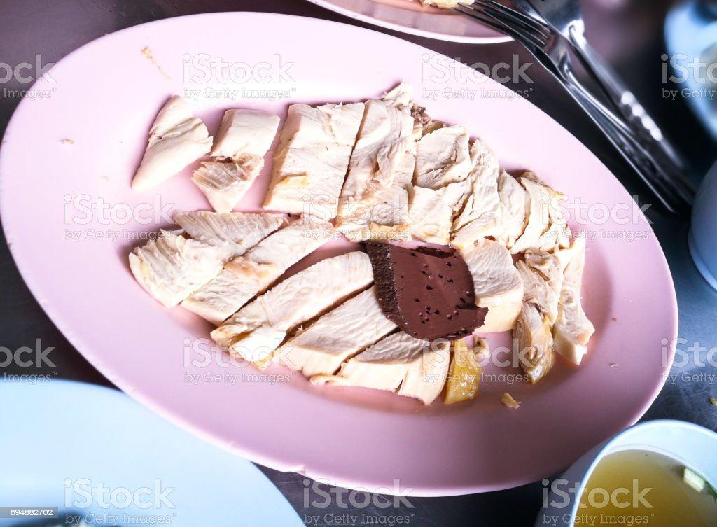 Hainanese chicken rice and sauce stock photo