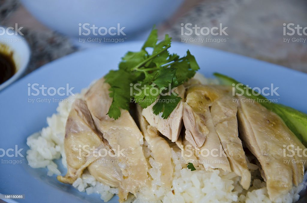 Hainanese chicken rice for lunch stock photo
