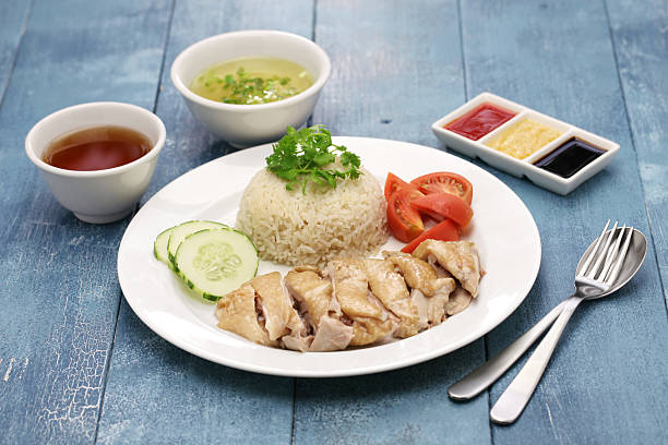 hainanese chicken rice - chicken rice stock photos and pictures