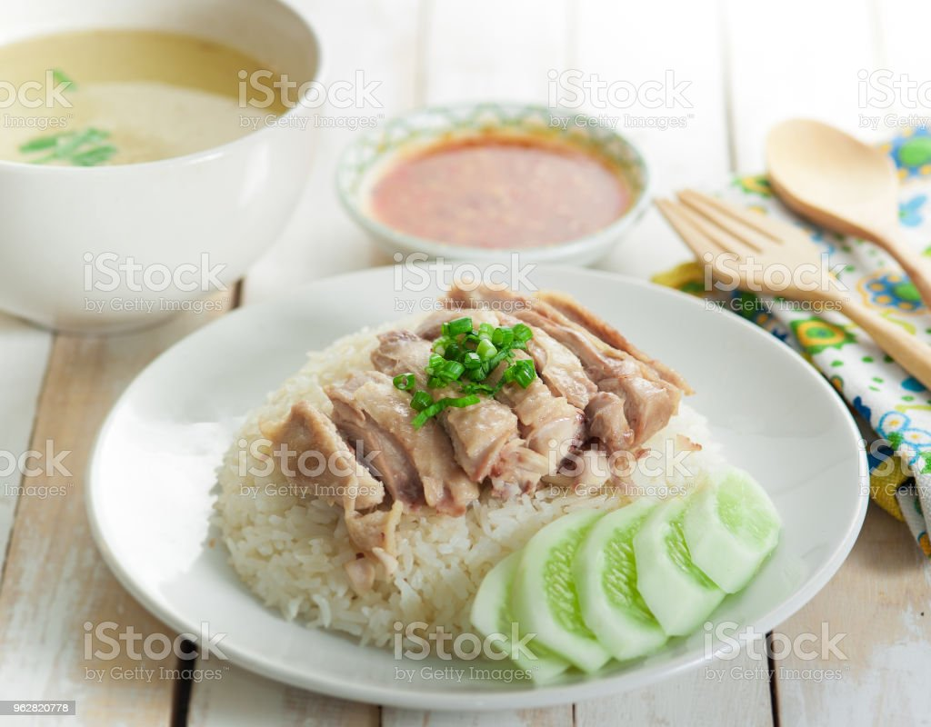 Hainanese chicken rice , Thai gourmet steamed chicken with rice - Foto stock royalty-free di Al vapore