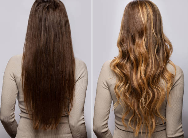 Hair after dyeing and styling in a professional salon stock photo