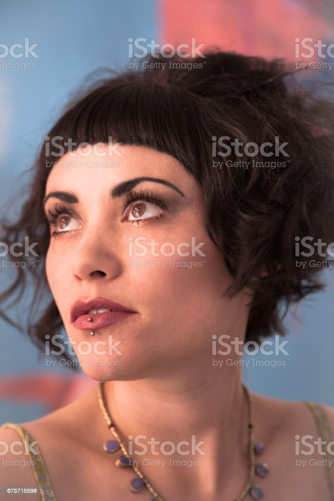 Hair and Makeup for a Burlesque Artiste and model royalty-free stock photo