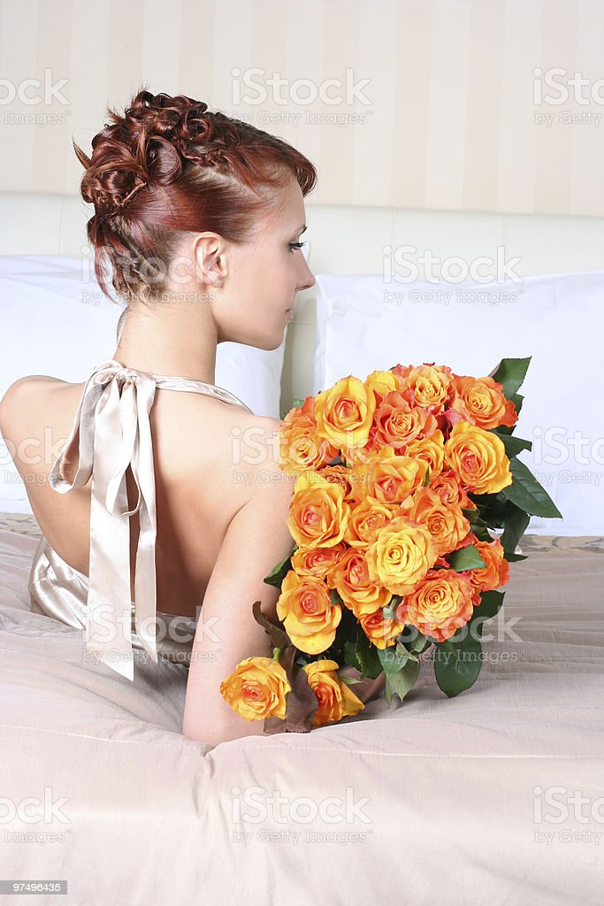 hair and roses royalty-free stock photo