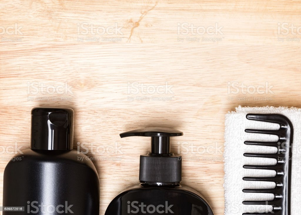 Hair beauty products and accessories background stock photo