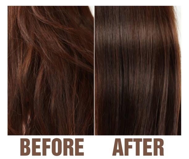 saç önce ve sonra - kabarık saç stok fotoğraflar ve resimler