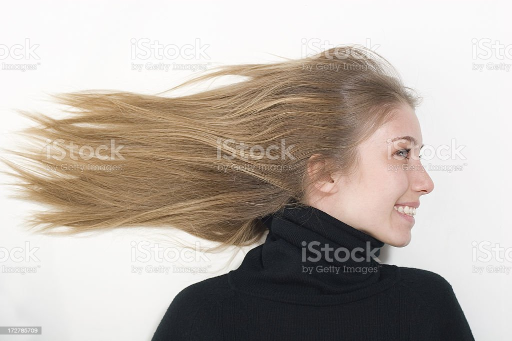 Hair Blowing in the Wind royalty-free stock photo