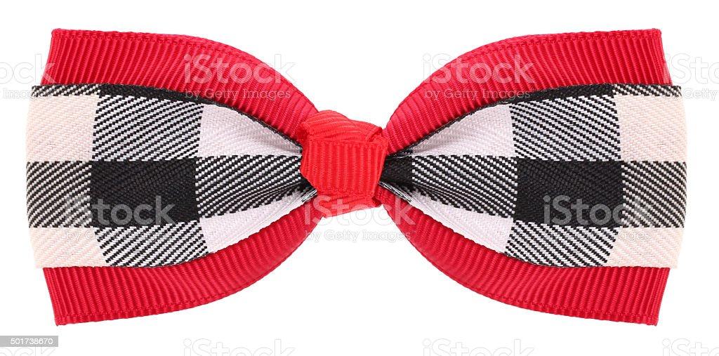 321e2b3caadfd Cheveux rouge avec noeud papillon à motif écossais noir et blanc de détails  photo libre de