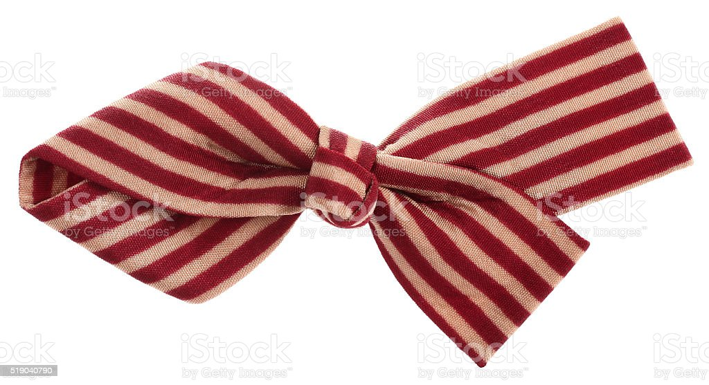 Hair bow tie with dark red maroon and beige stripes stock photo