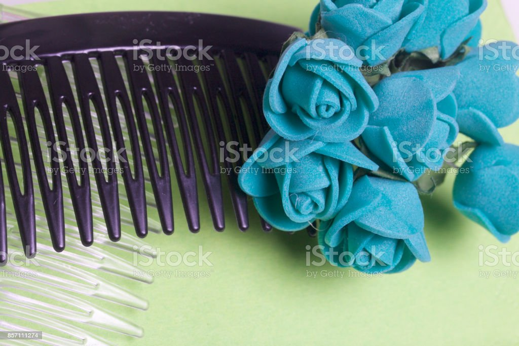 Hair care. Accessories and decorations. Two scallops for hair are transparent and black in color. Artificial rose flowers are emerald for interweaving or decorating. On a light green background. stock photo