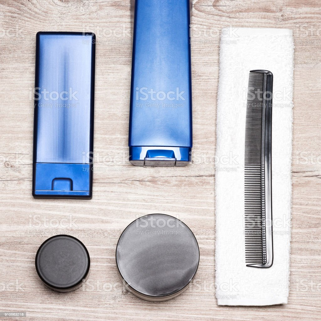 Hair care and styling cosmetic products for men stock photo