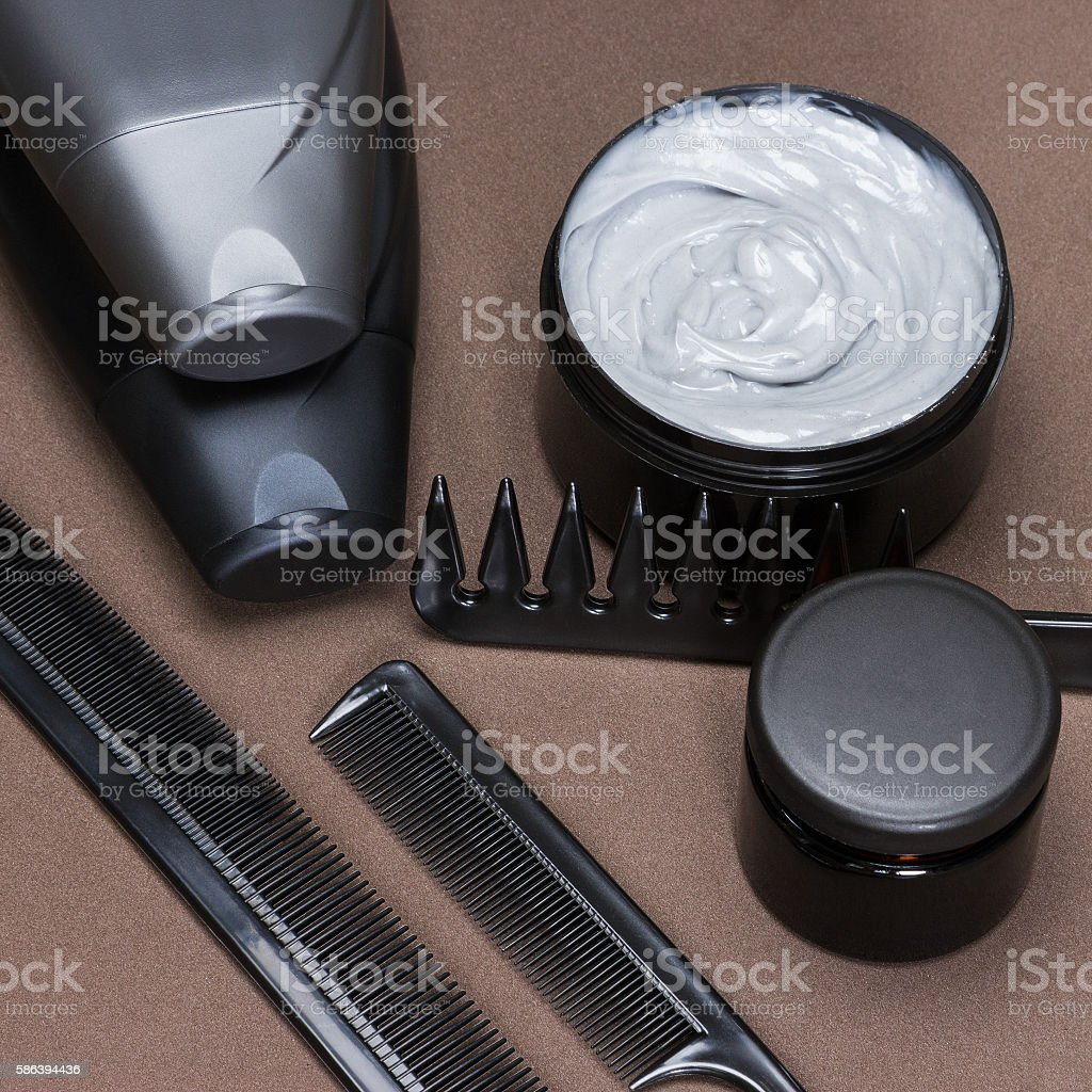 Hair care and styling products and accessories stock photo