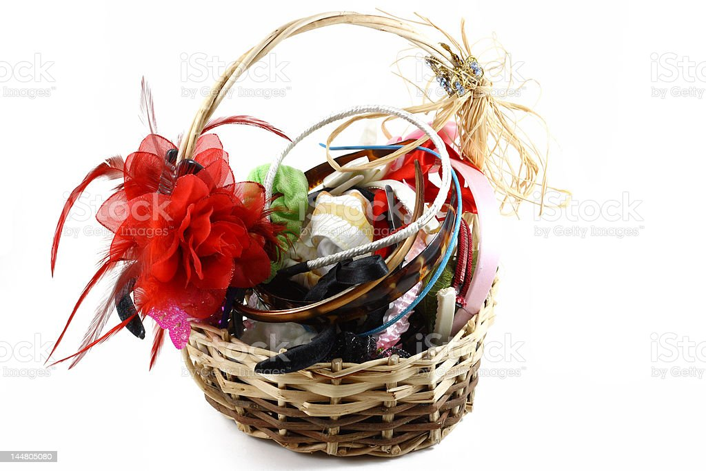 hair clips in the basket stock photo
