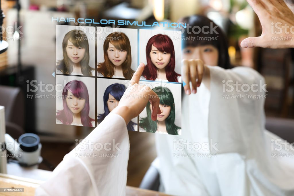 Hair color simulation system concept. Technological scene of hair salon. Smart mirror display. stock photo