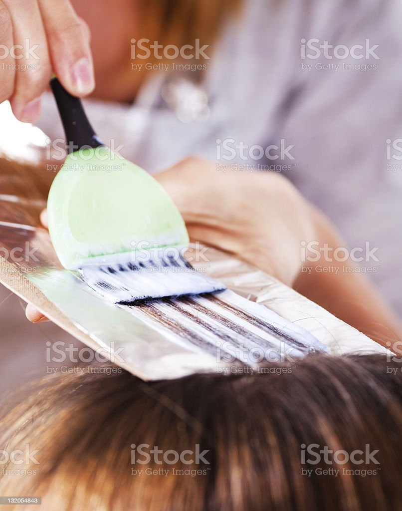 Hair coloring stock photo