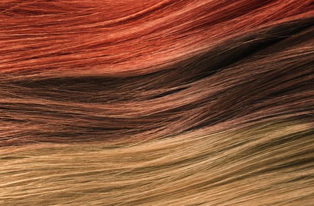 haar-farben-palette. haar textur hintergrund gesetzt haarfarben. tönungen. gefärbte haare farbmuster - haarverlängerung stock-fotos und bilder