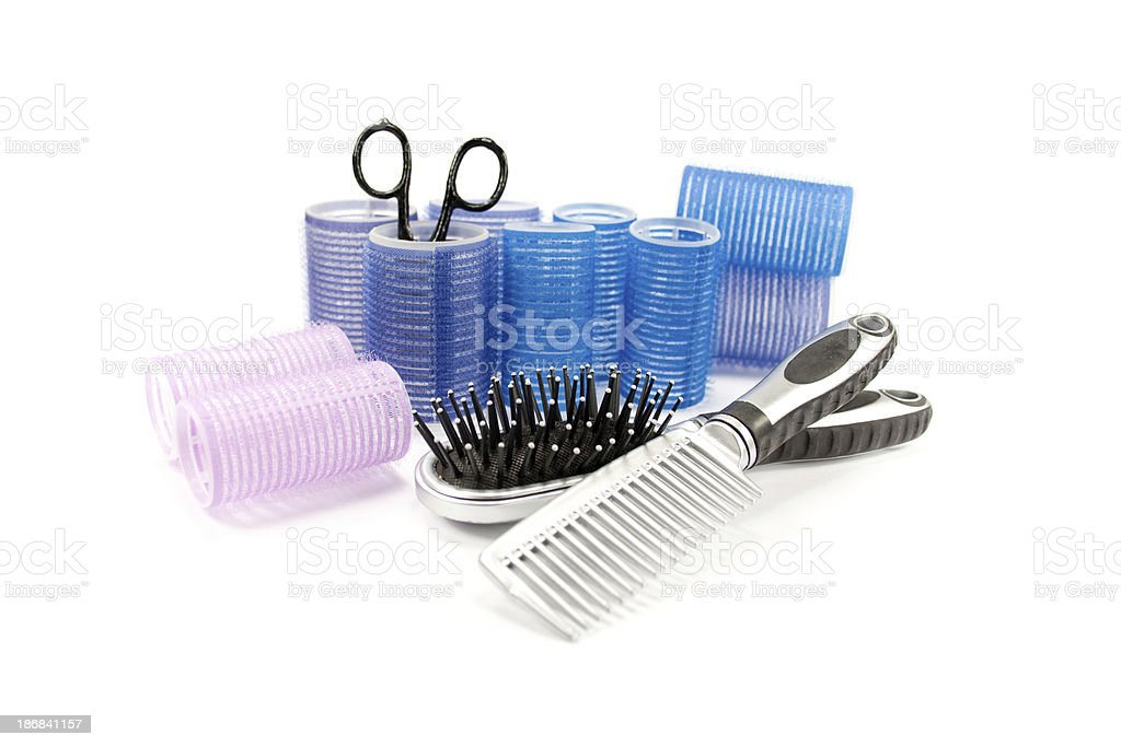 hair curlers brush comb royalty-free stock photo