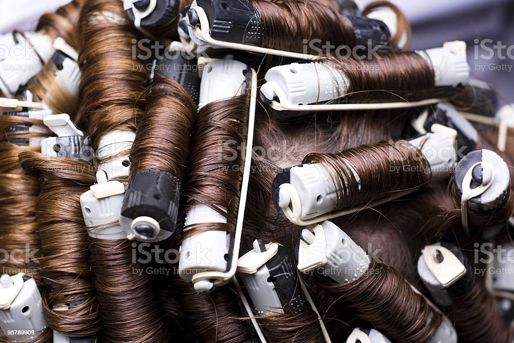 Hair curlers stock photo