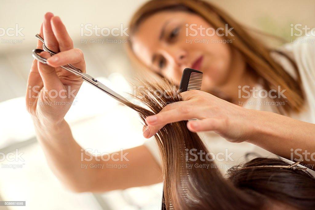 Hair cutting stock photo