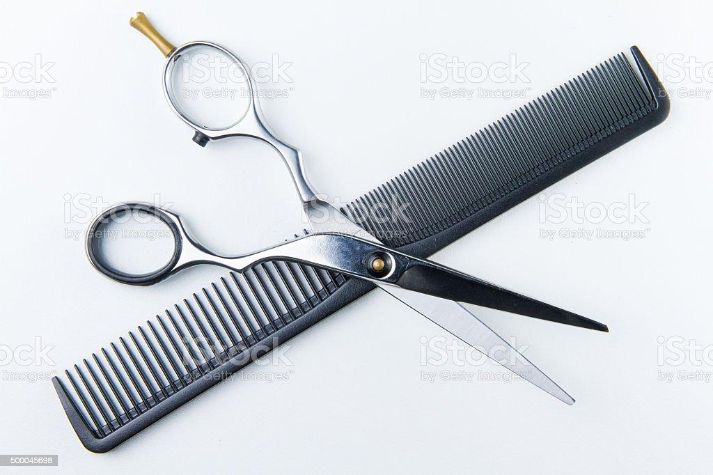 Haare schneiden Schere und Kamm für Frisör-Teams gesammelt haben. – Foto