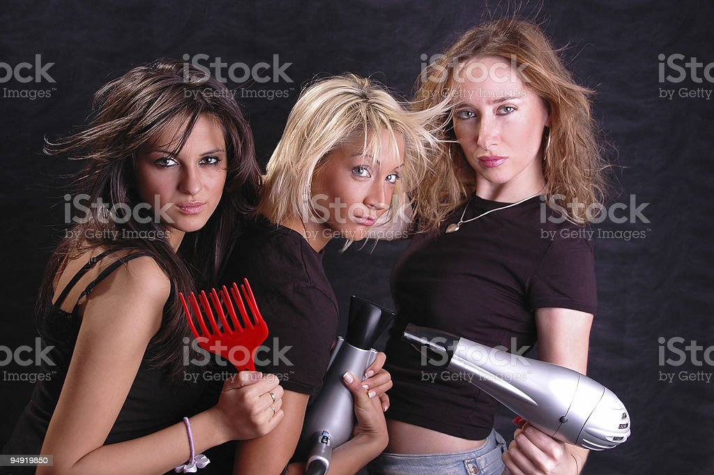 Hair dryers fun royalty-free stock photo