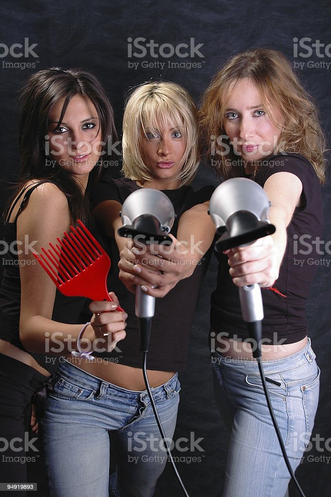 Hair dryers fun royalty-free stock photo