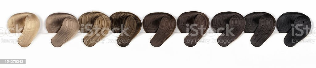 Hair Dye Color Swatches - Natural Tones royalty-free stock photo