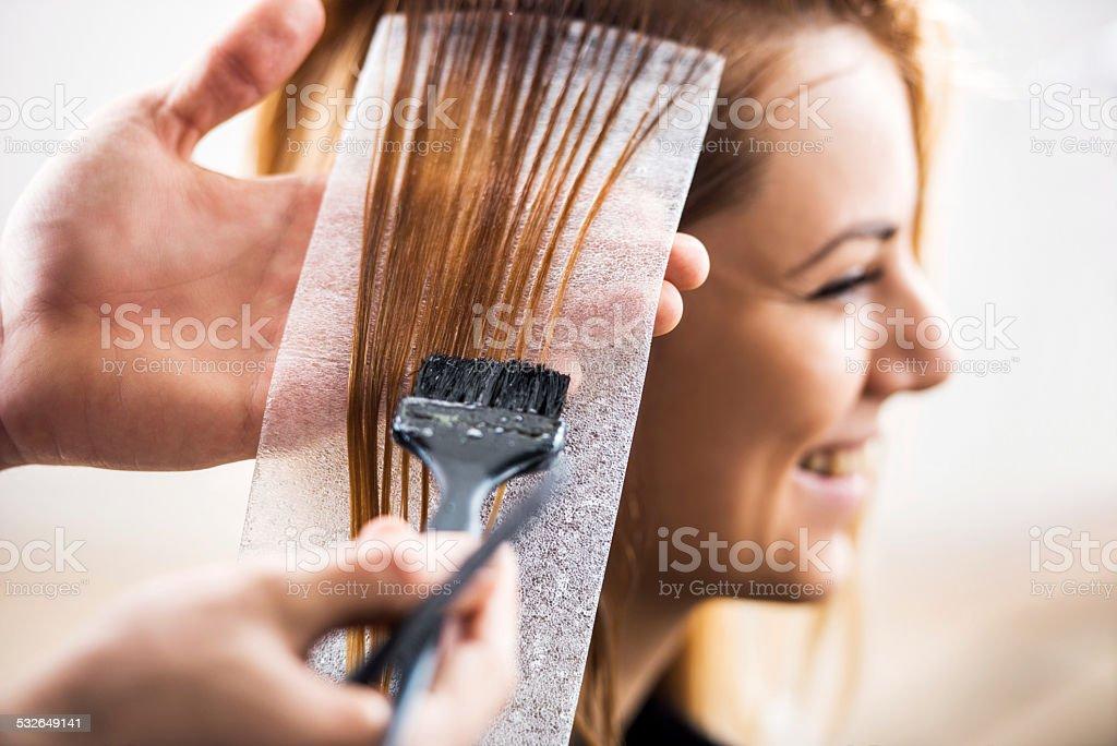 Hair dyeing. stock photo
