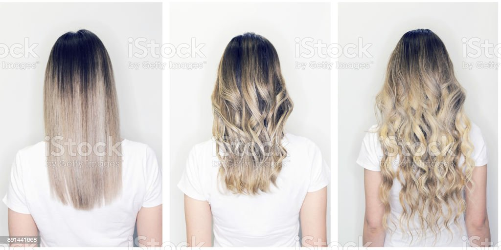 Hair extension before and after on woman head stock photo