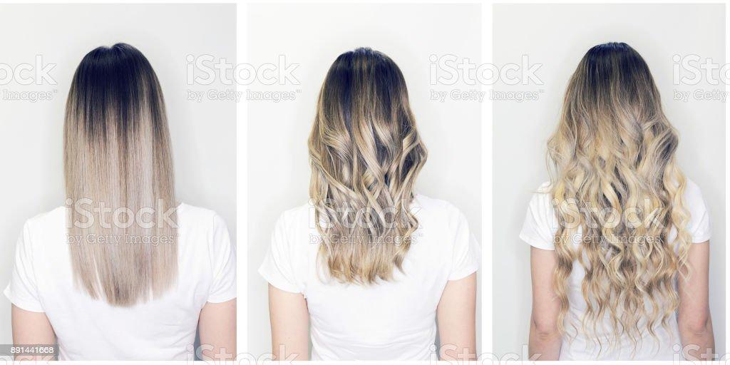 Extensão de cabelo antes e depois na cabeça de mulher - foto de acervo