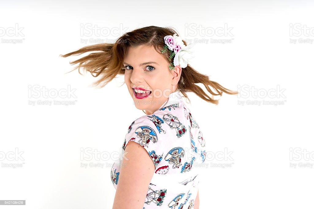 hair flick stock photo