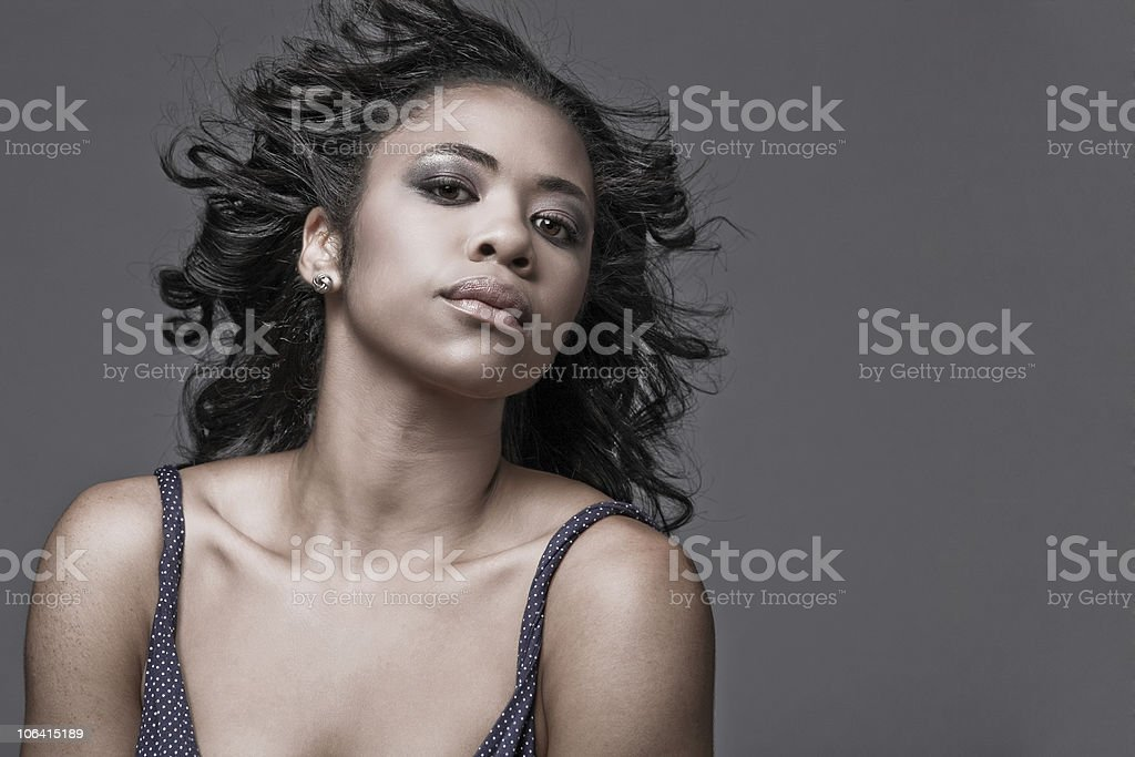 Hair fluttering on wind. royalty-free stock photo