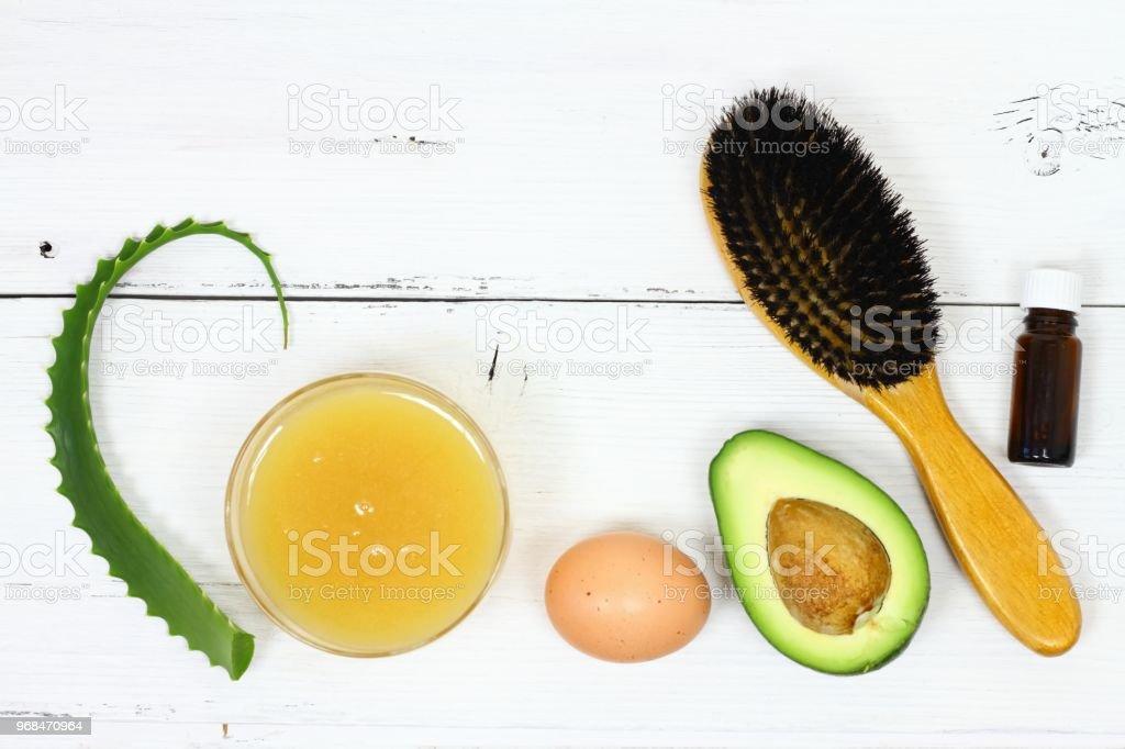 Hair Mask Fron Banana Honey Aloe Avocado And Egg Stock Photo More