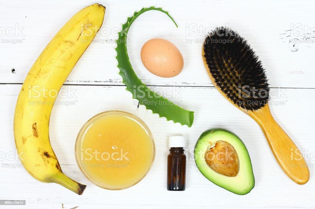 Haarmaske Fron Banane Honig Aloe Avocado Ei Stockfoto Und Mehr