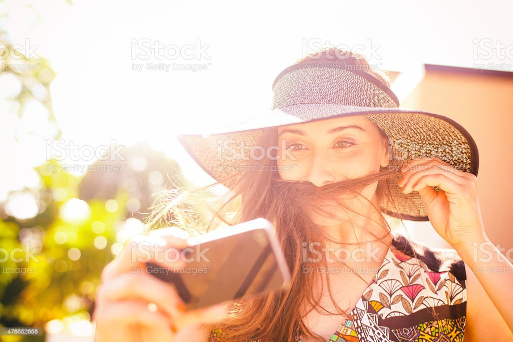 Hair Moustache Woman With Smart Phone Outdoors in Summer royalty-free stock photo
