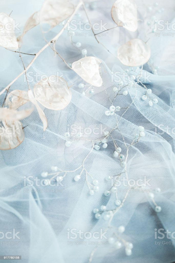 hair ornament on the veil stock photo