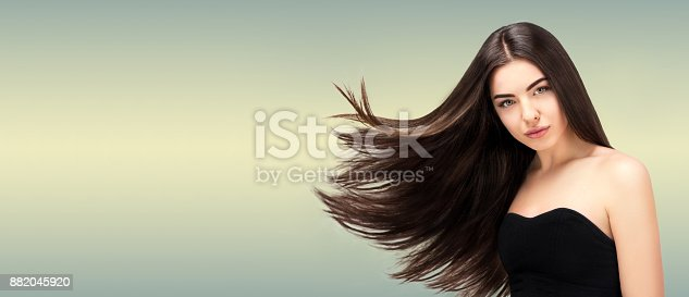 istock Hair salon. Beauty Fashion Model Woman  Long Banner,Healthy Brown Hair looking at camera. Hairdresser,hairstyle concept 882045920