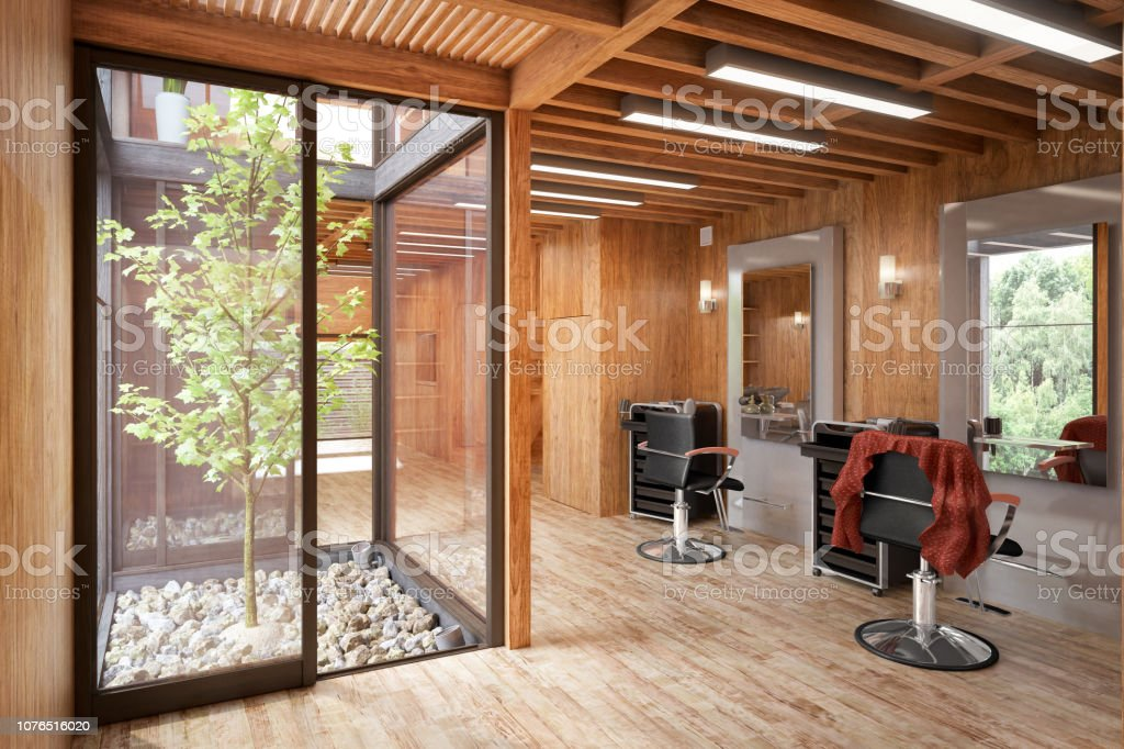 Hair Salon Designed In Wood 3d Visualization Stock Photo Download Image Now Istock