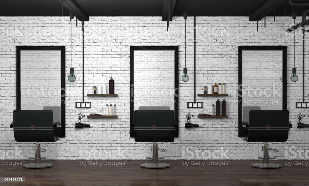 Haar Salon Modernen Einrichtungsstil 3d Abbildung Schönheitssalon ...
