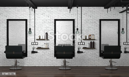 istock hair salon interior modern style 3d illustration beauty salon white brick wall 979873778