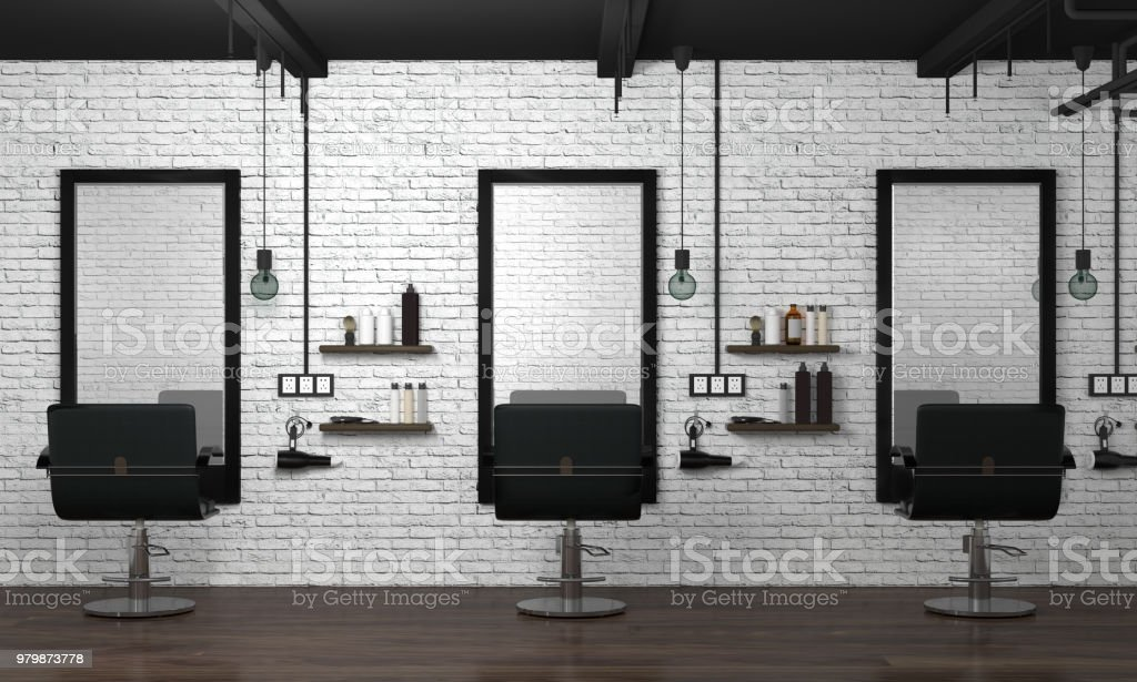 hair salon interior modern style 3d illustration beauty salon white brick wall stock photo