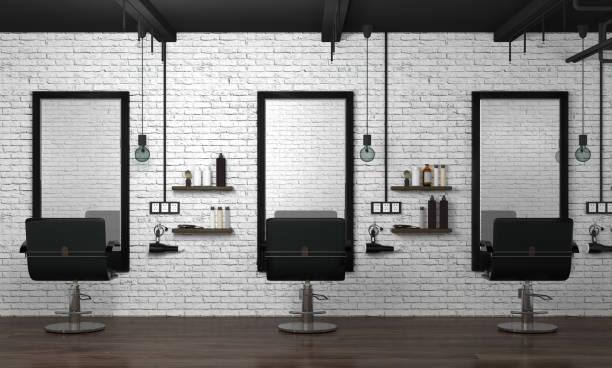 salón interior estilo moderno 3d ilustración belleza peluquería blanco de la pared de ladrillo - salón de belleza fotografías e imágenes de stock