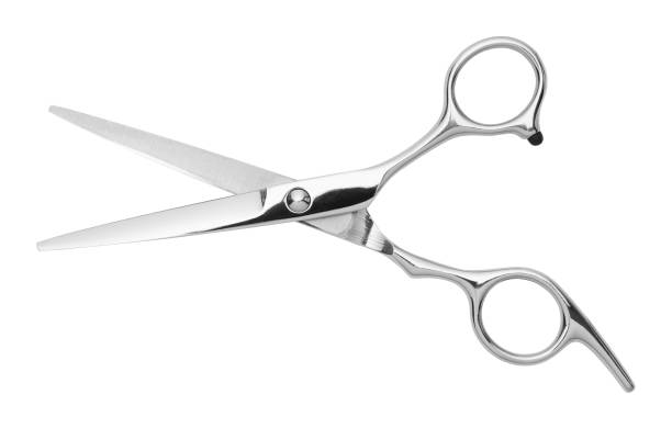 Hair Scissors Open Silver Hair Cutting Scissors Isolated on White Background. scissors stock pictures, royalty-free photos & images
