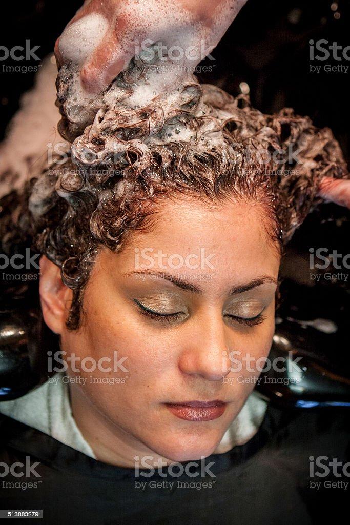 Hair Washing at Salon (Over Sink, Eyes Closed) stock photo