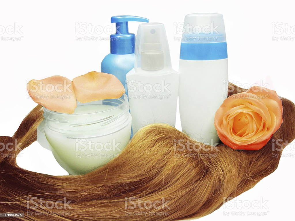 hair wave and moisturizers with fresh rose royalty-free stock photo