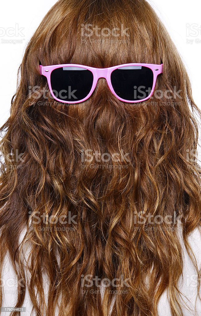 Hair with pink sunglasses - rear view stock photo
