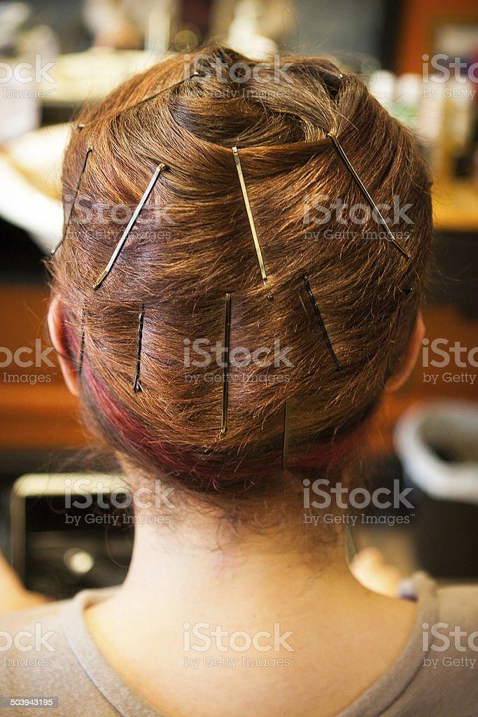 Hair Wrap at Salon with Bobby Pins stock photo