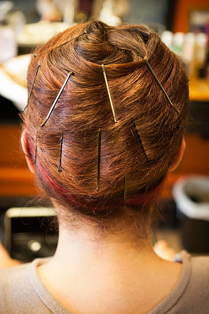 Hair Wrap at Salon with Bobby Pins stock photo