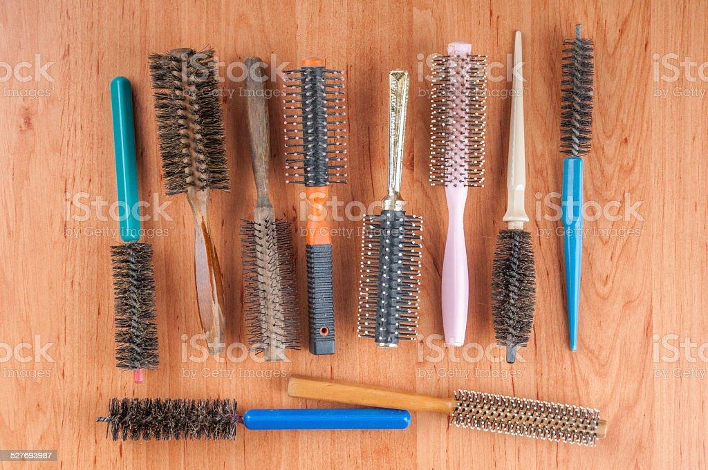 Hairbrushes stock photo